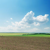 Plowed field in spring under cloudy sky — Stock Photo
