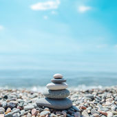 Zen-like stones on beach — 图库照片