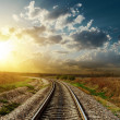 Sunset over railroad — Stock Photo