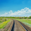 Railroad to horizon in green landscape — Stock Photo
