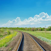 Railroad to horizon in green landscape — Stok fotoğraf