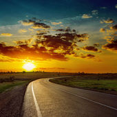 Low orange sun over asphalt road — Stock Photo