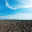 Black plowed field and cloudy sky — Stock Photo