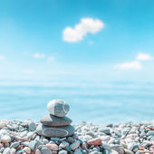Zen-like stones on beach. soft focus — Stock Photo