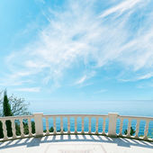 Balcony over sea and cloudy sky — Stock Photo