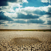 Wet spot on cracked earth under dramatic sky — Stock Photo