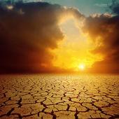Orange cloudy sunset over cracked desert — Stock Photo