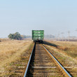 Stock Photo: Last wagon on old railroad