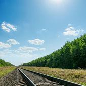 Yeşil manzara ve mavi gökyüzü güneş ove ile ufuk için demiryolu — Stok fotoğraf