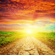 Red sunset over drought road — Stock Photo #46731633