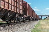 Wagons of a freight train in motion go to horizon under bridge — Stock Photo