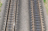 Two parallel railroads. aerial view — Stock Photo