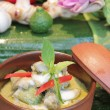 Green curry with chicken and eggplant, (Kaeng Khiao Wan Kai) — Stock Photo