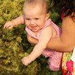 Happy baby outdoors portrait. Soft sunny colors. — Stock Photo #12179049