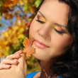 Beautiful Autumn Woman outdoors portrait. Soft sunny colors. — Stock Photo