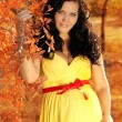 Young beautiful pregnant woman in autumn — Stock Photo