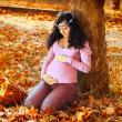 Beautiful pregnant woman in autumn park, outdoors — Stock Photo