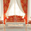 Baroque Sofa and Royal Armchairs in modern interior. Luxurious f — Stock Photo #12323564