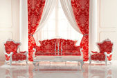 Baroque Sofa and Armchairs in old royal interior design. Luxurio — Stock Photo