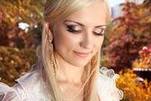 Beautiful bride woman outdoors portrait — Stock Photo
