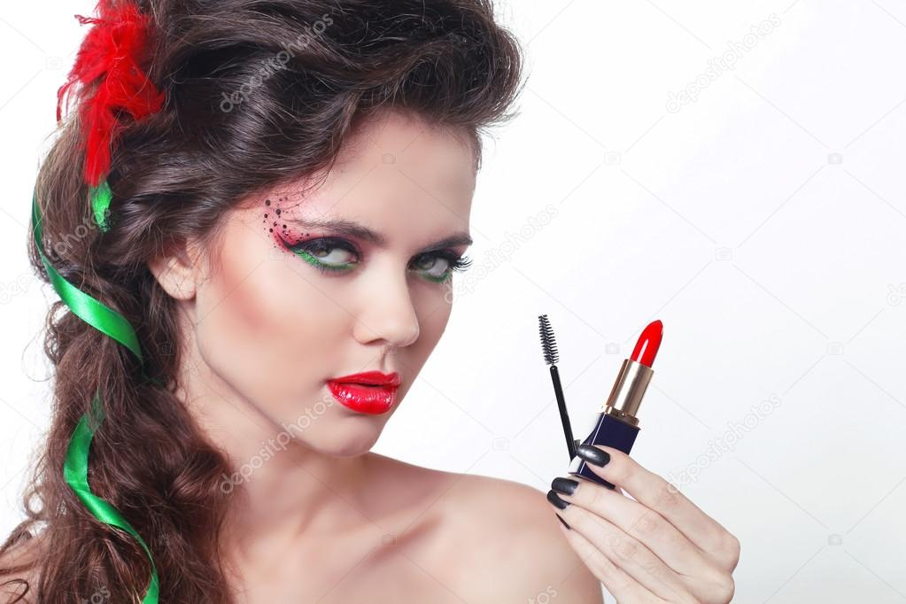 Beauty Girl with red lipstick and mascara isolated on white — Stock Photo #12533369