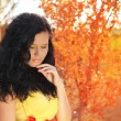 Autumn portrait of beautiful brunette woman model with bright ma — Stock Photo #12566182