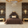 Stock Photo: Luxury bedroom with golden furniture in royal interior