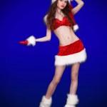 Winter portrait of beautiful sexy girl wearing santa claus cloth — Stock Photo