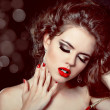 Fashion photo woman Portrait. Red Lips on glitter background. — Stock Photo
