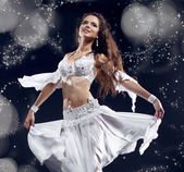 Portrait of young dancing girl belly dancer, sexy arabian orient — Stock Photo
