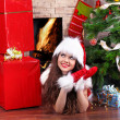 Christmas, Girl wearing in Santa Claus — Stock Photo