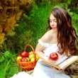 Young Woman with Apple and book in the Orchard. Basket of Apples — Stock Photo