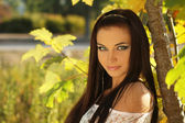 Beauty woman portrait of teen girl beautiful cheerful enjoying w — Stock Photo