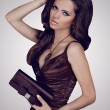 Stock Photo: Fashion brunette woman in elegant dress with bag. Jewelry and Be