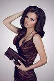 Brünette frau im eleganten kleid mit tasche gestalten. schmuck und — Stockfoto