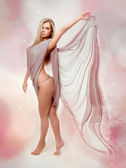 Fairy. Beautiful Blond Girl in Blowing Dress Flying — Stock Photo