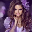 Fairy. Woman with beauty long brown hair. Jewelry and Beauty. Fa - Stock Photo