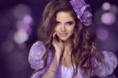 Fairy. Woman with beauty long brown hair. Jewelry and Beauty. Fa — Stock Photo