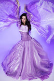 Fairy. Beautiful Girl in Blowing Dress. Fashion Art photo — Stock Photo