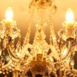 Beautiful vintage crystal chandelier in a room - Zdjęcie stockowe