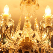 Beautiful vintage crystal chandelier in a room — Stock Photo