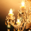 Vintage crystal lamp details, candle light — Stock Photo