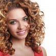 Healthy Curly Hair. Attractive smiling woman portrait on white b — Stock Photo #17690777