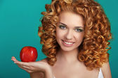 Young happy smiling beautiful woman with apple, carefree healthy — Стоковое фото