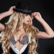 Blond woman with long beautiful hair and red lips in hat. — Stock Photo