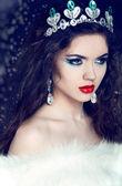 女王。冬季女孩在奢华皮草大衣 — 图库照片