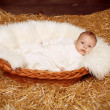 Little baby resting in basket on haystack  straw background - Stock Photo