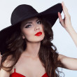 Woman in hat with red lips — Stock Photo