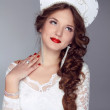 Russian Beauty. Attractive female wearing in kokoshnik. Woman's — Stock Photo