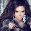 Jewelry and Fashion lady. Beautiful Woman wearing in Luxury Fur - Stock Photo